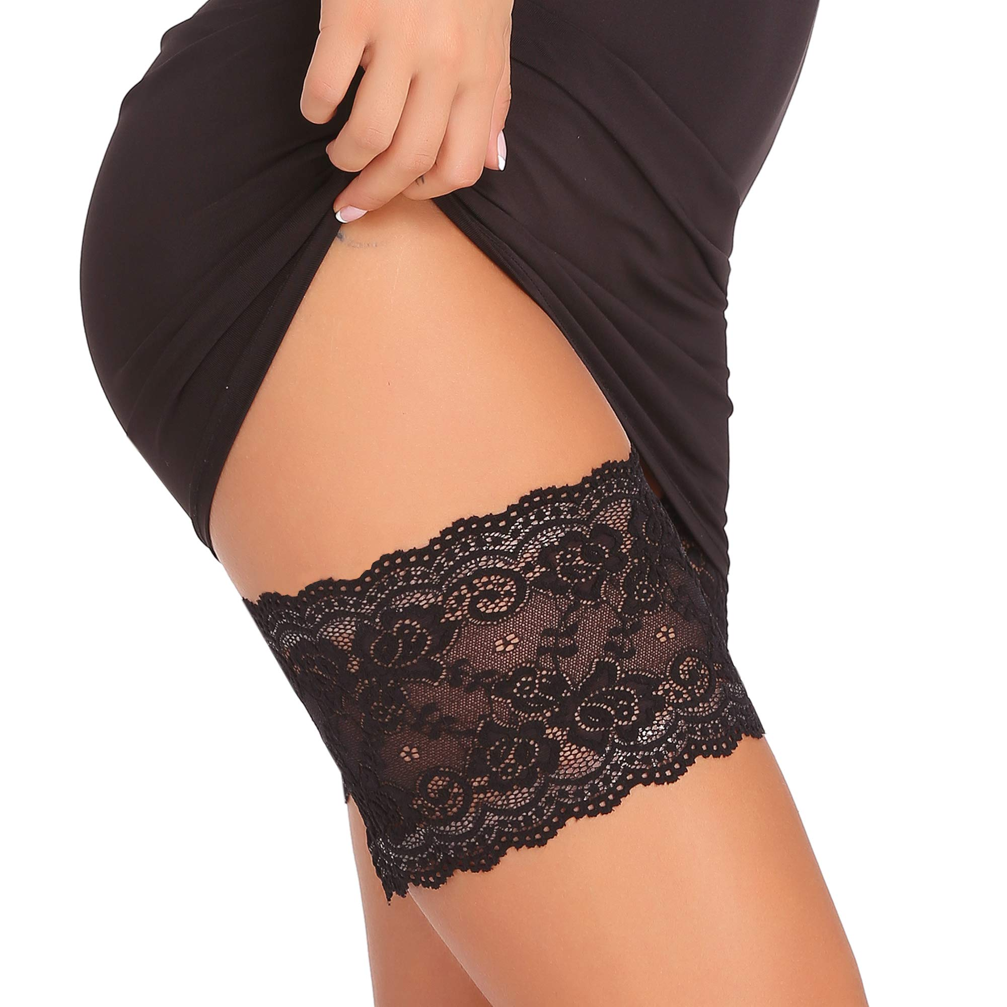 Amorbella Anti Chaffing Protection Bands Elastic Lace Prevent Thigh Chafing (Black, Medium)