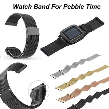 AMH Para Pebble Time Steel pulsera, Milanese de acero ...