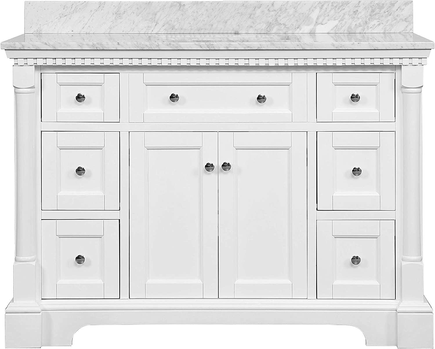 Sydney 48-inch Bathroom Vanity Carrara//Chocolate Includes Chocolate Cabinet with Authentic Italian Carrara Marble Countertop and White Ceramic Sink