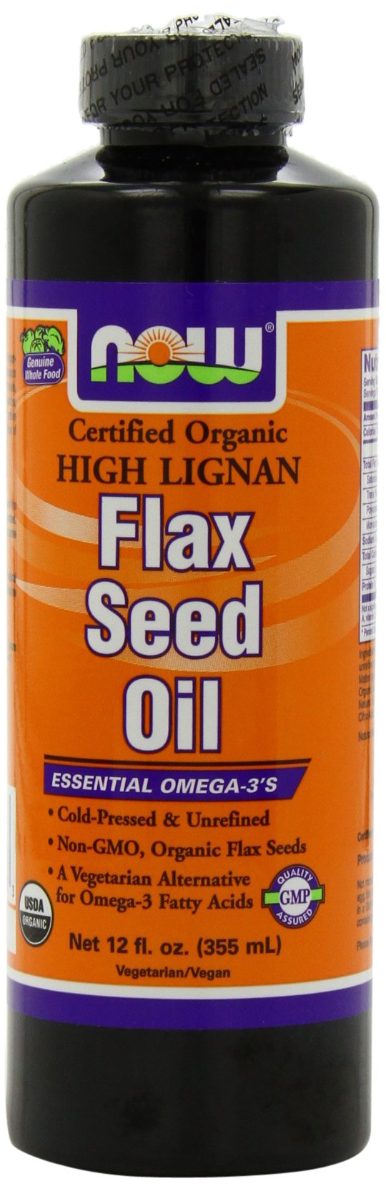 Now High Lignan Flax Seed Oil, 12 Ounces (Pack of 2)