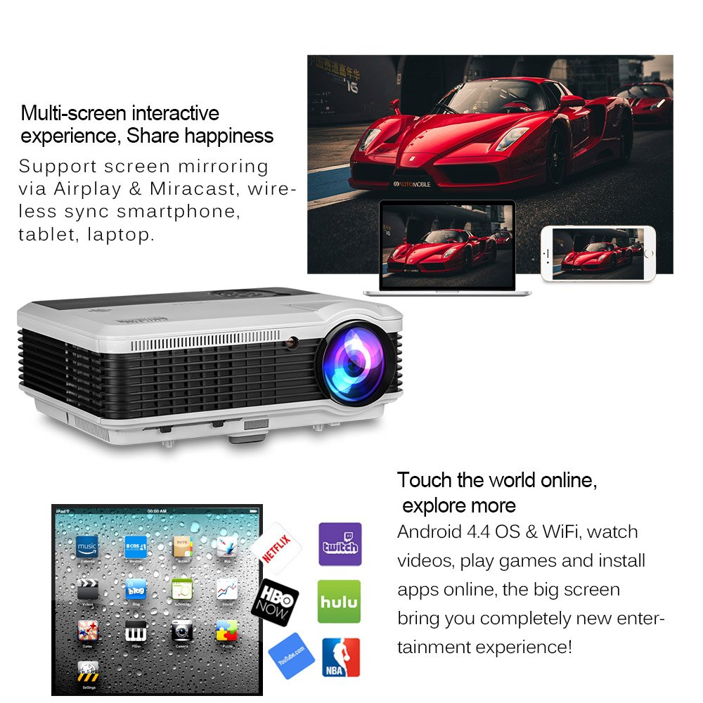 WXGA WiFi LCD Video Projctor Full HD 1080P 3600 Lumen HDMI-in Airplay Miracast Wireless for iPad Smartphone Laptop PC DVD Player Playstation, LED Home Cinema Projector Outdoor Theater Halloween Proje by EUG (Image #4)