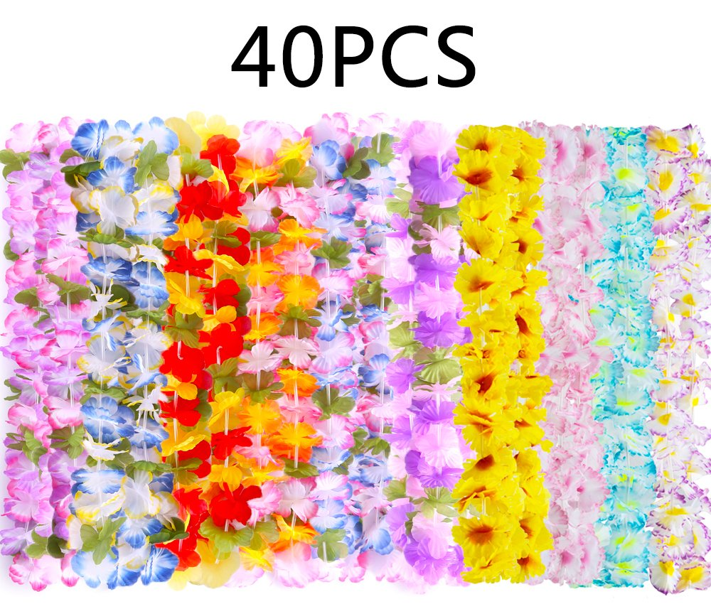 Moon Boat Hawaiian Luau Leis Necklaces - Tropical Tiki Hibiscus Flowers/Summer Pool Party Favors Supplies Decorations (40 inches)