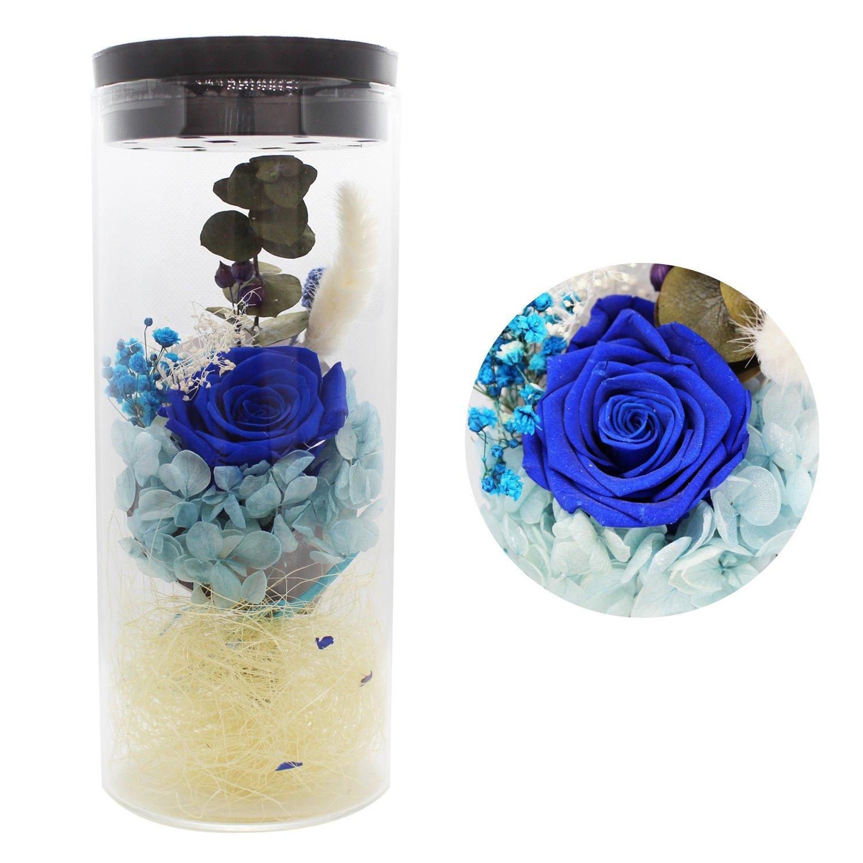 Flor eterna preservada fresco flor de cristal de la cubierta flores coloridas con la luz colorida del LED transforma, el mejor regalo para el día de San Valentín, día de la madre, cumpleaños, Navidad, ceremonia de boda JJOBS