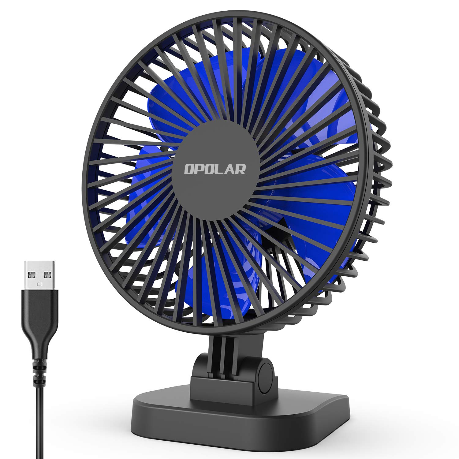 OPOLAR 2019 New Mini USB Desk Fan with 3 Speeds, Strong Airflow but Whisper Quiet, 40° Adjustable Tilt Angle for Better Cooling, Perfect Portable Personal Fan for Desktop Office Table