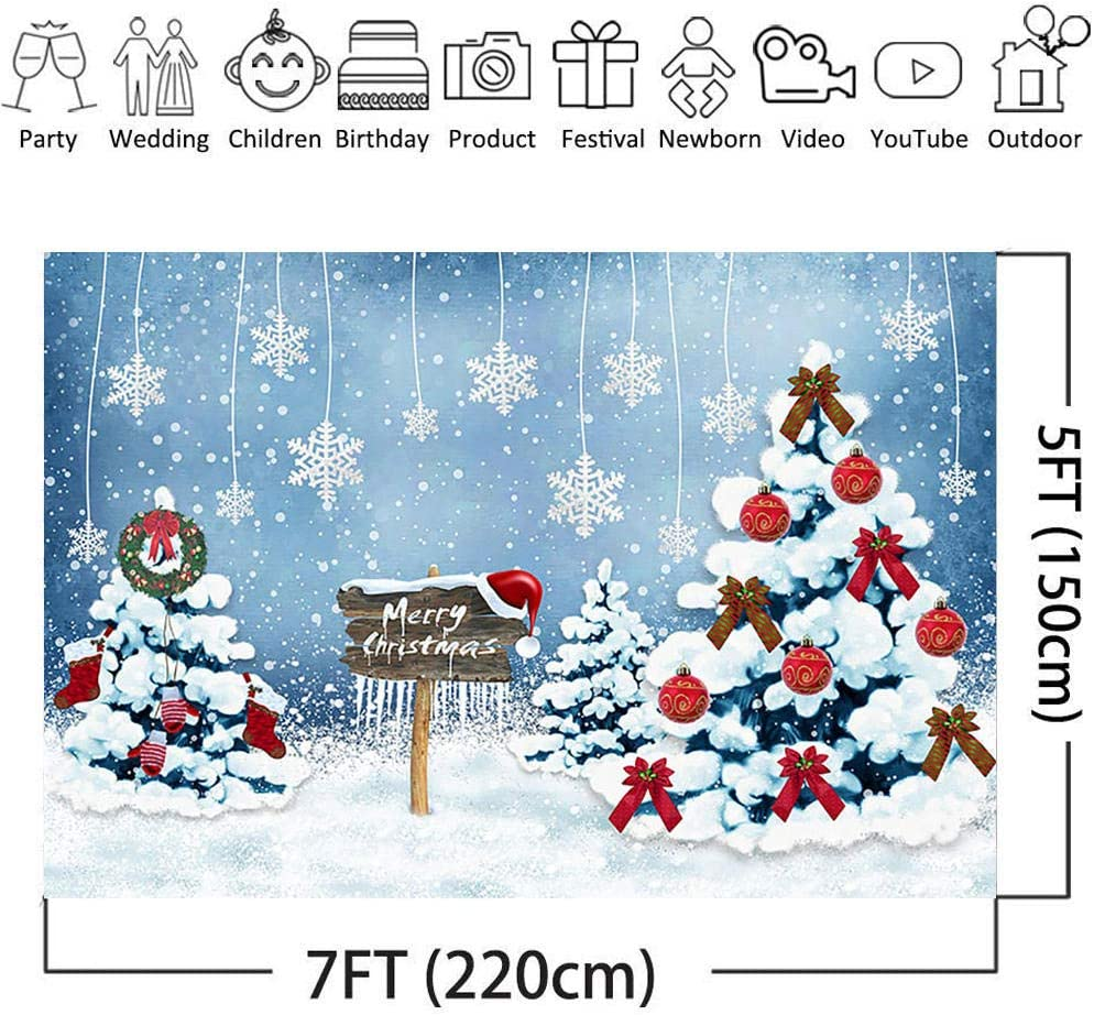 Photo Seamless Photography Christmas Snowflakes Flying Over White Landscape Pictures Backdrop Banner Thick Snow Piled Up On The Christmas Tree with Red Bells Decoration Shoot Props Modern
