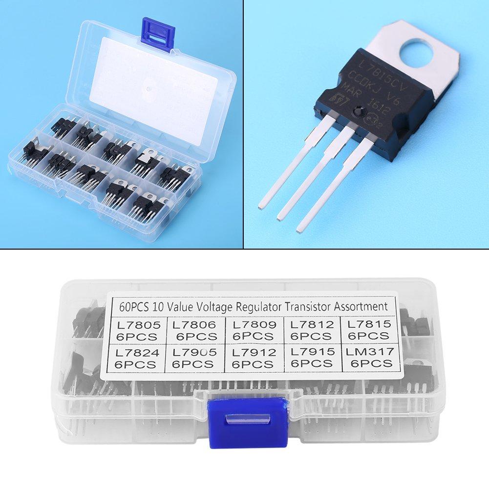 10 Werte L7805CV-LM317t Transistor-Sortiment-Set mit Aufbewahrungsbox 60-tlg H/äufig verwendete Trioden Inline-Sortimente