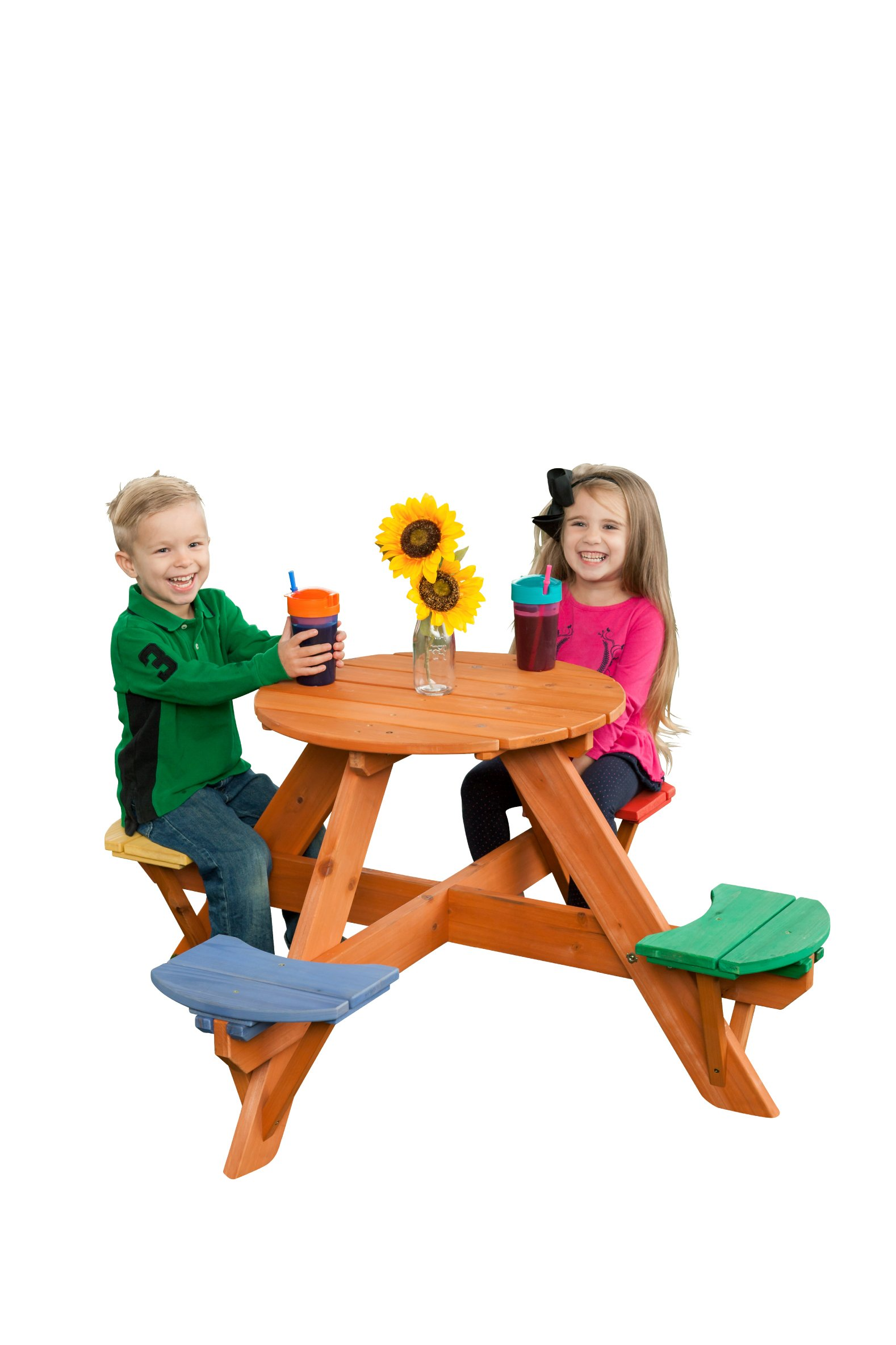 Creative Cedar Designs 7605 Childrens Wooden Picnic Table w/Seats, Cedar Wood With Blue, green, Red, And Yellow Seats