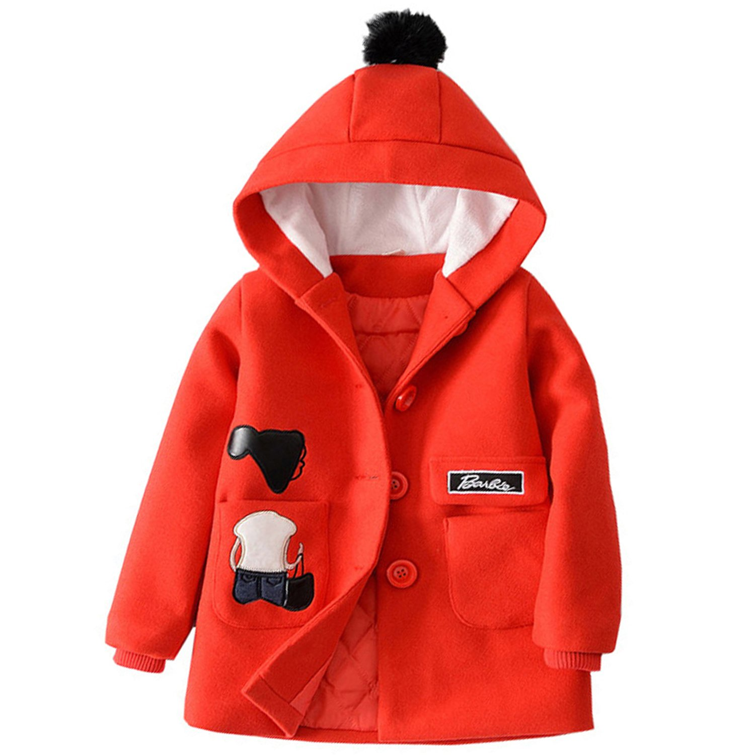 Euno Winter Girls' Fashion Thickening Coats and Hooded Coats Red R120