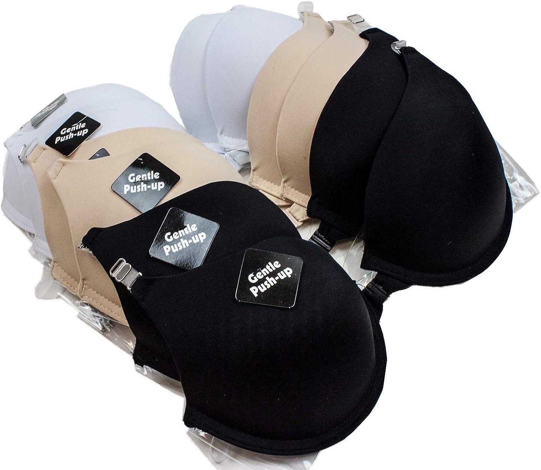 Barbra Pack de 6 de Gentle push-up moldeado Copa frontal transparente y correa gancho sujetador: Amazon.es: Ropa y accesorios