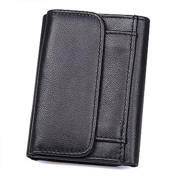 Asdflina Bien Artesanal Cartera RFID de Cuero con Monedero Corto para Hombres, Billetera Abierta, Negro Adecuado para Uso Diario: Amazon.es: Hogar