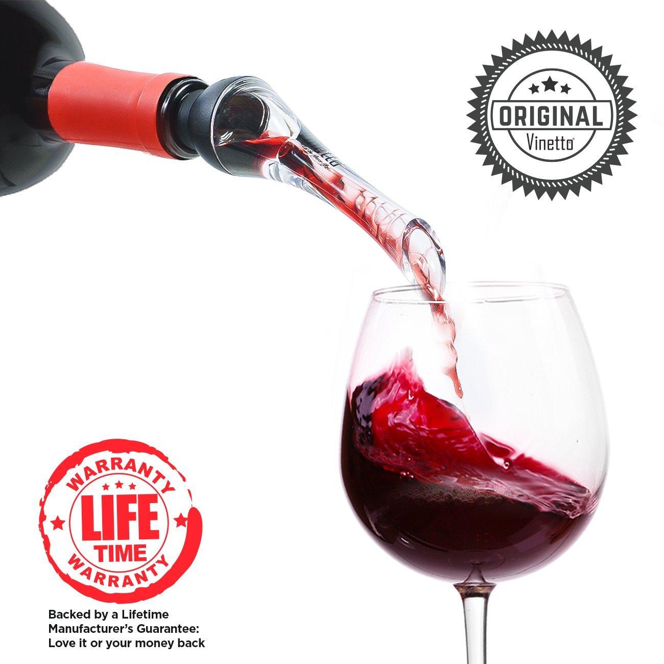 Vinetto Original Red Wine Aerator and Decanter Spout-Best Aerating Pourer-Bottle Top Air Funnel for Superior Aeration-Elegant & Ergonomic Design-Black