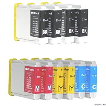 10 Colour Direct LC970 / LC1000 Impresora Cartuchos de Tinta Para Brother DCP-130C / DCP-135C / DCP-150C / DCP-155C / DCP-330C / DCP-350C / DCP-375C / ...