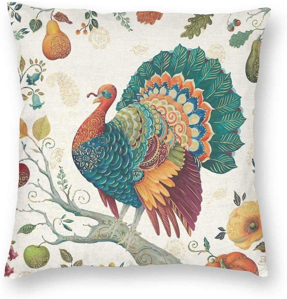 MINIOZE Thanksgiving Turkey Fall Pumpkin Gourd Print Plush Soft Square Pillow Covers Home Decor Cushion Covers Decorations Gifts Pillowcase for Indoor Sofa Bedroom Car 18 x 18 Inch
