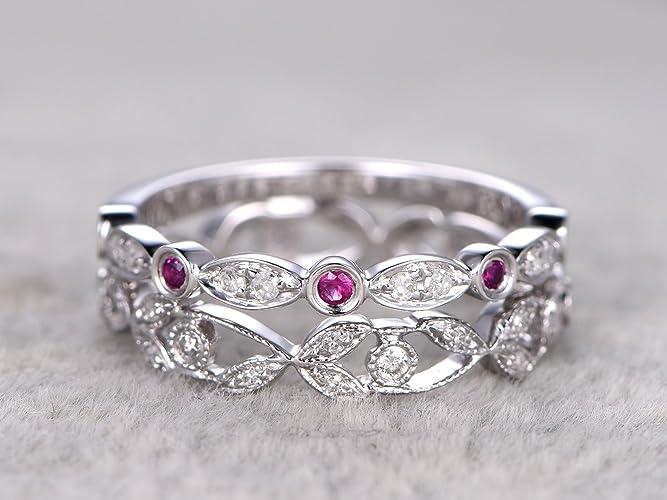 9b68f0d2e6267 Amazon.com: Solid 14k White Gold Natural Diamond Wedding Rings ...