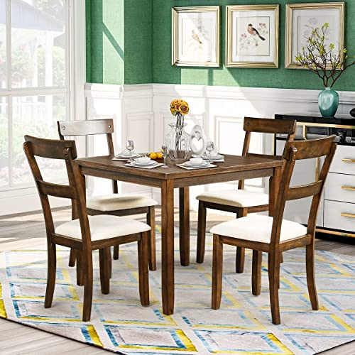 Binrrio 5 Piece Dining Table Set Industrial Wooden Kitchen Table Dining Table