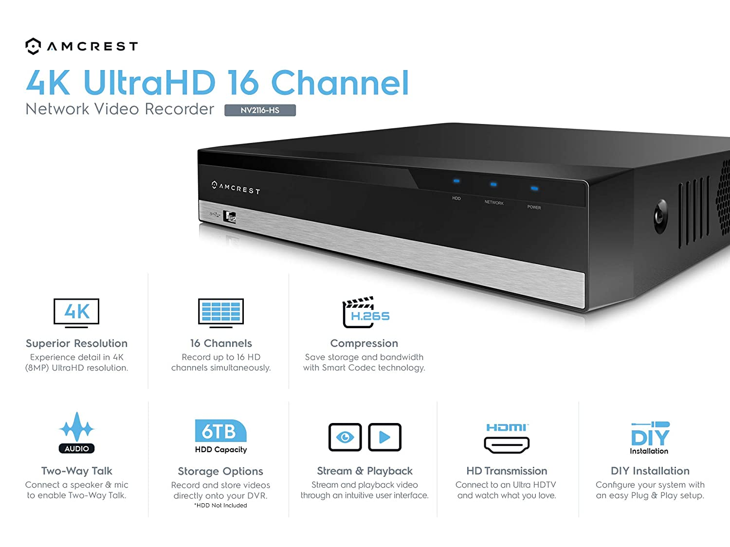 Pre-Installed 1TB Hard Drive, No Built-in WiFi NV2108-1TB Supports up to 8 x 4K IP Cameras Amcrest NV2108-HS 8CH 1080P//3MP//4MP//5MP//6MP//4K Network Video Recorder