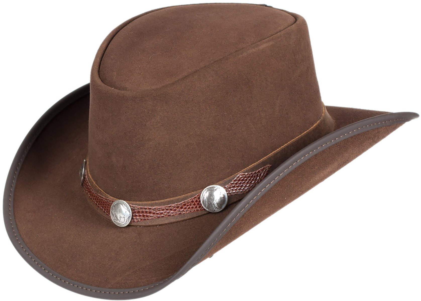 Overland Sheepskin Co plainsman Suede Leather Cowboy Hat With Buffalo nickels by Overland Sheepskin Co