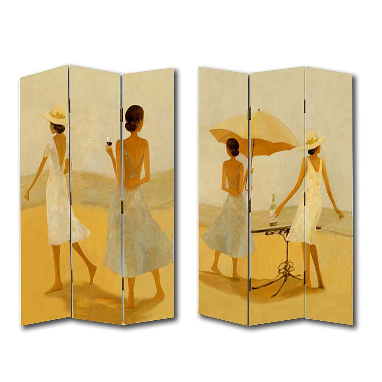 6ft tall 3 panel 2 fold wine by the beach room divider canvas