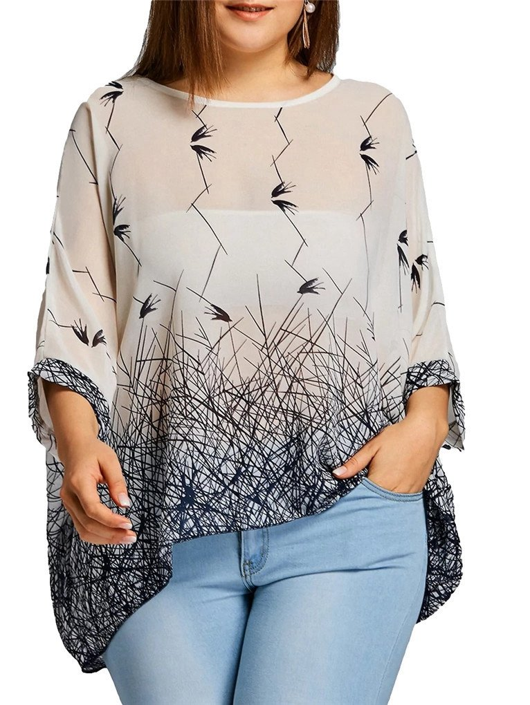 Fendxxxl Women's Plus Size Tops Loose Casual Batwing Sleeve Chiffon Blouse Floral Shirt Tunics 4020