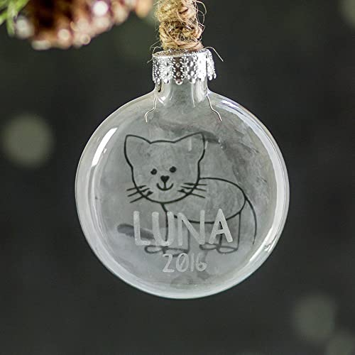 Personalized Cat Ornament - Custom Pet Ornament - Gift for Cat Lover -  Custom Etched Glass - Amazon.com: Personalized Cat Ornament - Custom Pet Ornament - Gift