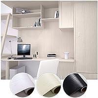 KINLO 0.61M * 5M (1 rotolo) Adesiva per Mobili Finto legno grano Nero PVC Impermeabile Antibatterico e Anti-umidità Wall Sticker autoadesive rinnovato mobili/parete/vetro/marmo ecc.