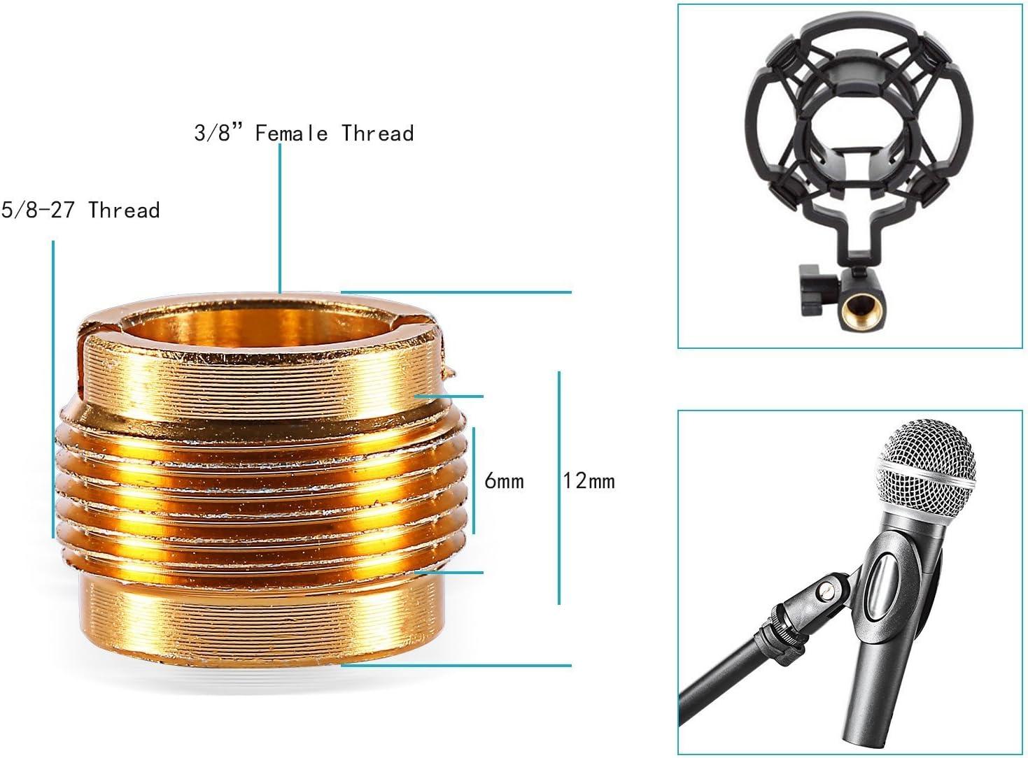 Racksoy Universal Mikrofon Clip Klemme Handgriff Mikrofonhalterung mit 5//8 auf 3//8 Gewinde Nu/ß Adapter Geeignet f/ür SM57//SM58 oder Standard Drahte Mic.