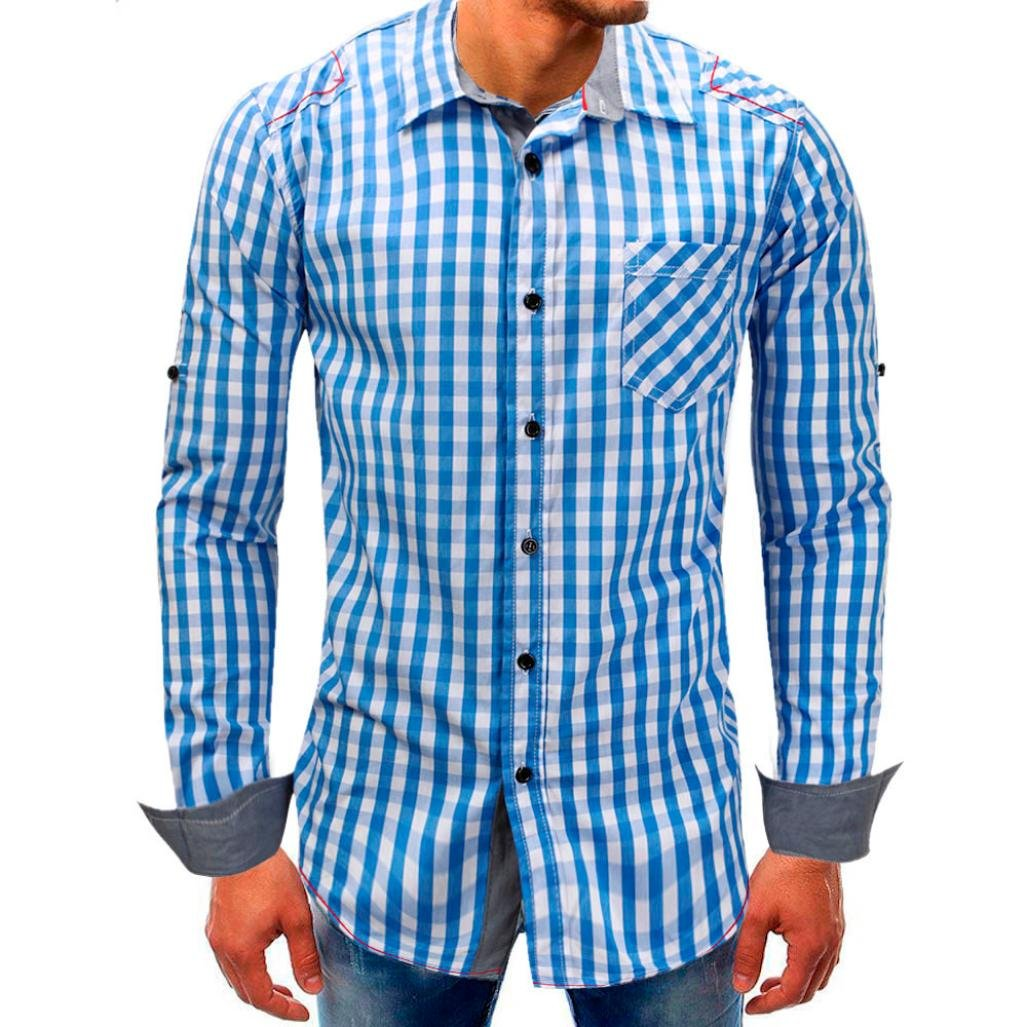 Clearance Mens Casual Shirts vermers Men Lattice Denim Long-Sleeve Beefy Button Tops with Pocket Basic Blouse Tee(2XL, Sky Blue)