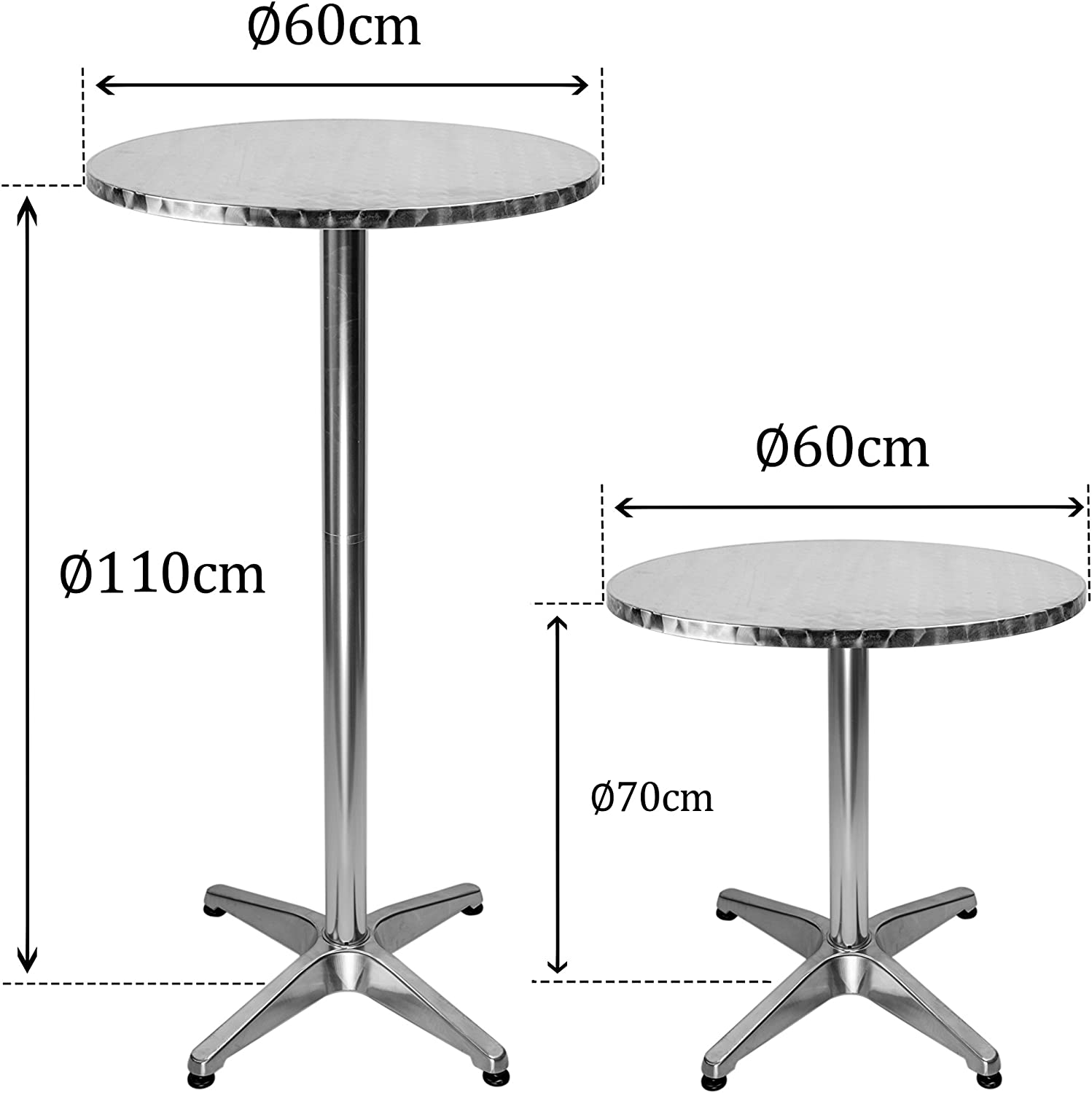 Lxdur Round Bistro Bar Table Aluminium Bar Table With 2 Adjustable Heights 24 Inches High Table Amazon Co Uk Kitchen Home