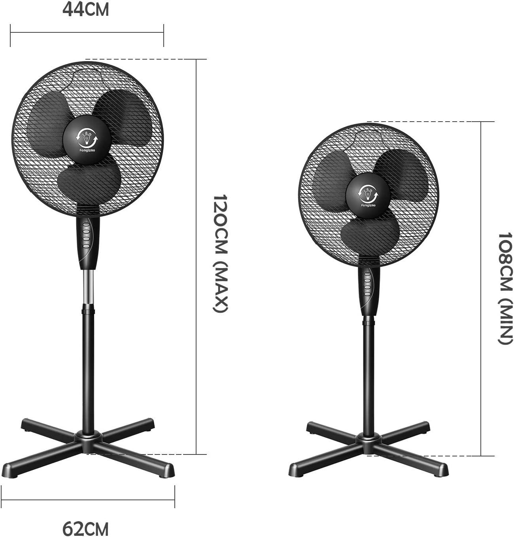 fam famgizmo Ventilateur sur Pied Turbo Silence Extr/ême 40 cm Oscillation 3 Vitesses 45W Economie Energie Hauteur R/églable Ventilation Blanc
