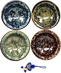 Handmade Japanese Cold Sake Sushi Wine Tea Cup,Kungfu Teacup, Set of 4 (Multi)