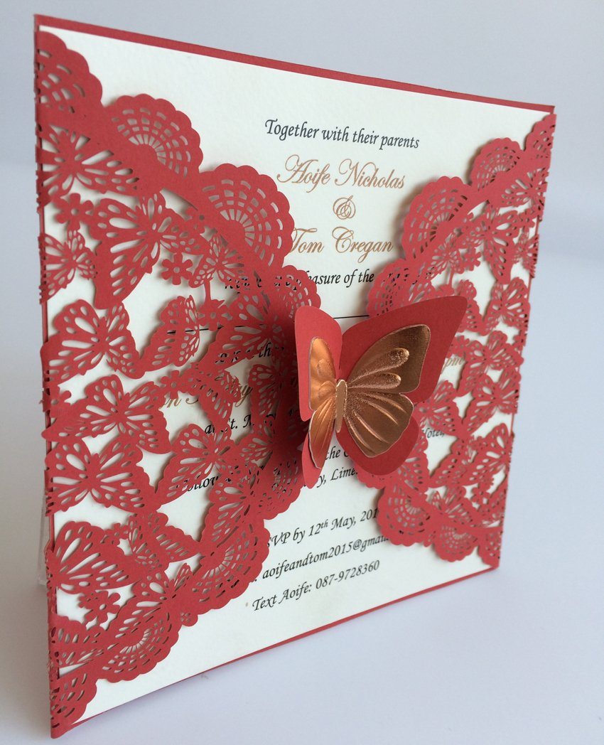 Amazon.com: Red Wedding Invitation Cards With Butterfly, Laser Cut ...