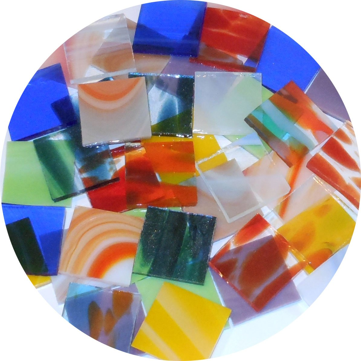 Spectrum System 96 Glass Specialty Pre-Cut 1-Inch Square Mix - Larger 18 Piece Pack - 96COE New Hampshire Craftworks