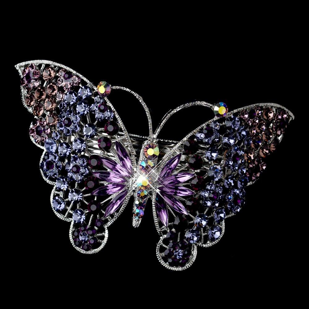 Marlena Silver Amethyst AB Rhinestone Butterfly Wedding Bridal Barrette - Special Occasion, Prom, Party