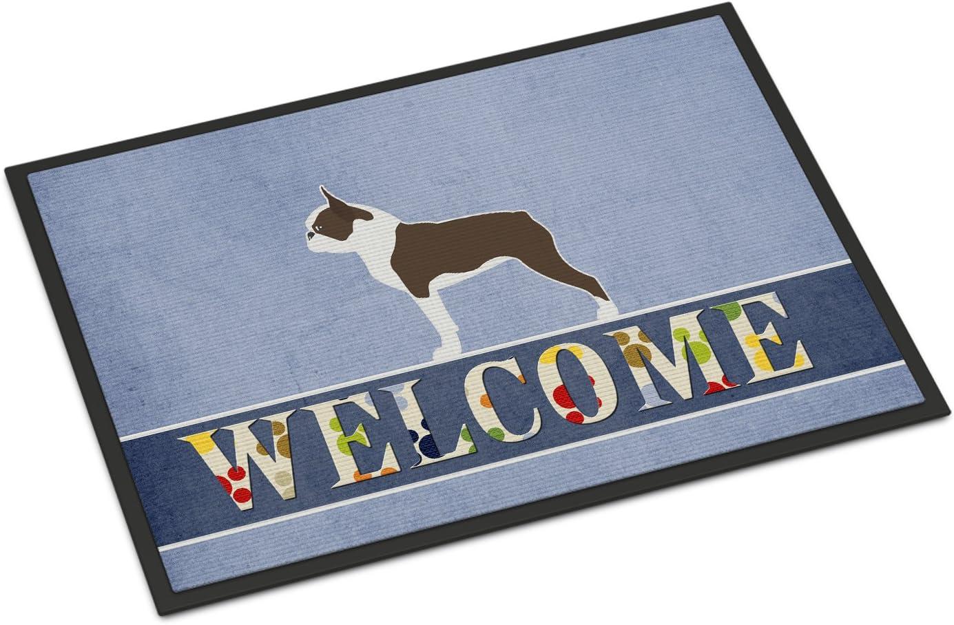 Caroline s Treasures BB5548JMAT Boston Terrier Welcome Indoor or Outdoor Mat 24×36, 24H X 36W, Multicolor
