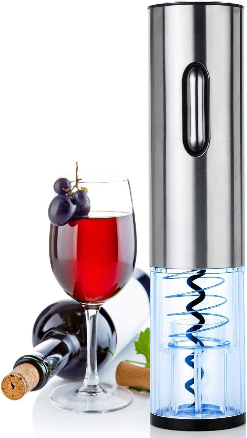 Electric wine bottle opener-rechargeable automatic corkscrew with foil remover, 5 seconds rapid opening, suitable for home kitchen, outdoor picnic, garden party, bar and other places stainless steel