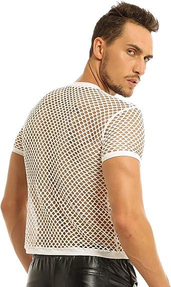 MSemis Camiseta de Malla para Hombre Camisa de Músculo Chaleco Transparente de Fishnet Slim Fitness Pole Dance Clubwear Talla M-2XL Blanco Medium: Amazon.es: Ropa y accesorios