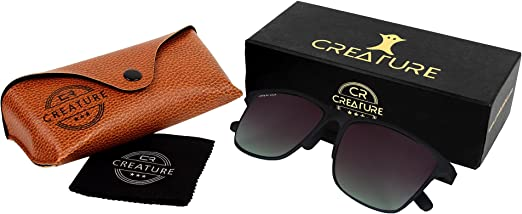 CREATURE Matt Finish Club Master Wayfarer Uv Protected Unisex Sunglasses(Doit-006| 53| Frame-Black) thumbnail
