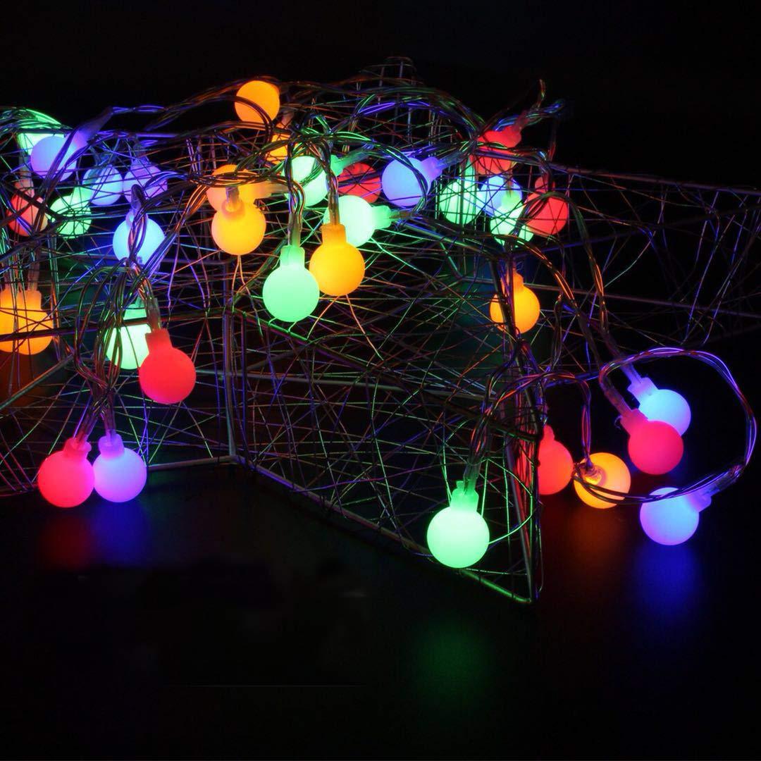 BXROIU 40 LEDs Petite Balle Guirlande Lumineuse pile Opération télécommande 8 Programme (Multicolore)