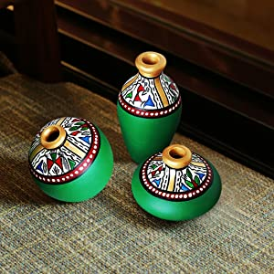 ExclusiveLane Terracotta Warli Handpainted Miniature Green Pots (Set of 3) - Miniature Terracotta Pots Home Décorative Artefacts for Living Room Bedroom Table Decor (Height: 2-3 Inch, Small)