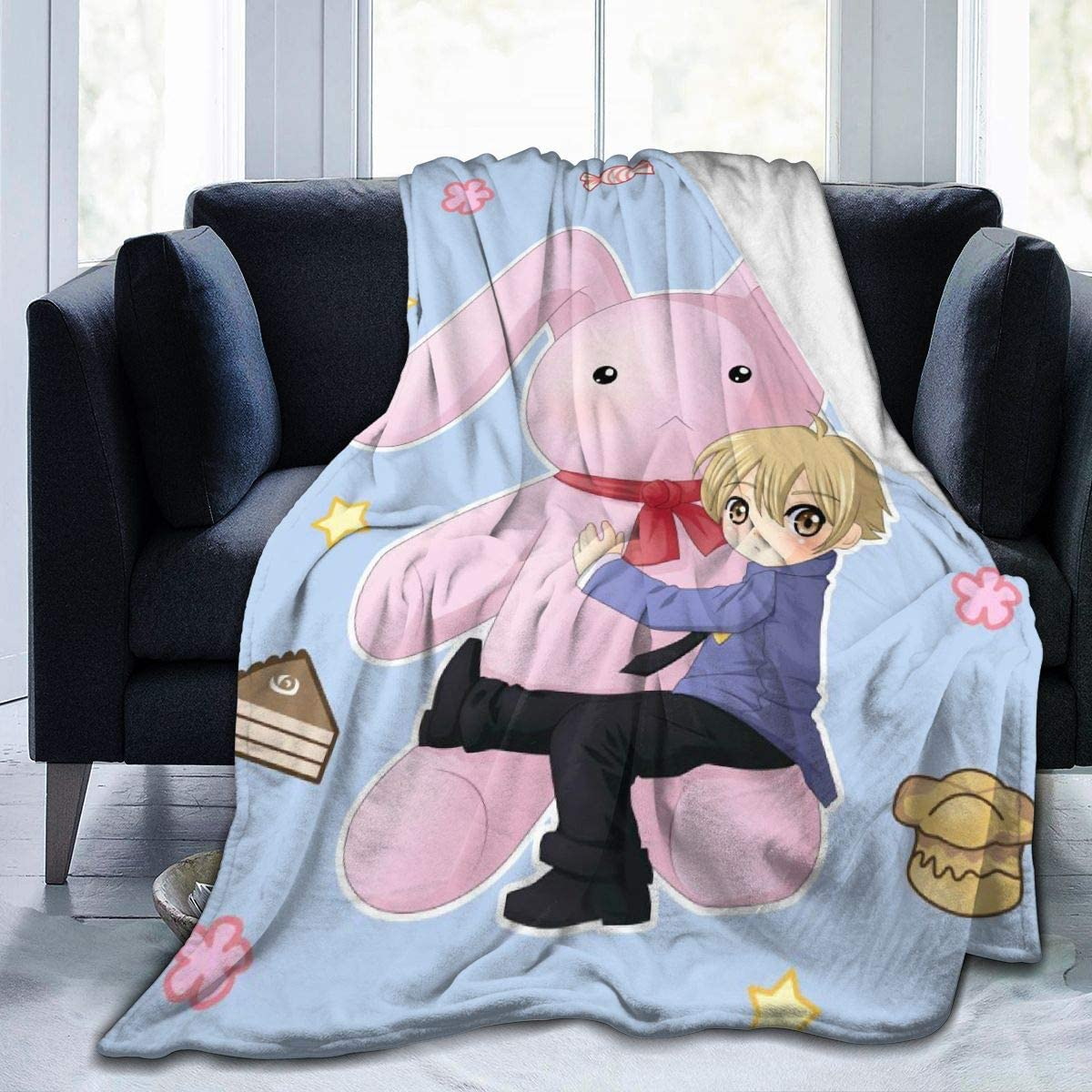 Darkt Ouran High School Host Club Luxury Throw Blanket Flannel Air Conditioning Blankets for Bed Sofa Home Decor Office Travel Gifts 50x40 Inch for Child