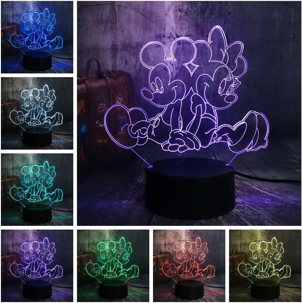 Luz De Noche Lámpara Ilusión Lindo Micke Minnie Mouse Cartoon 3D ...