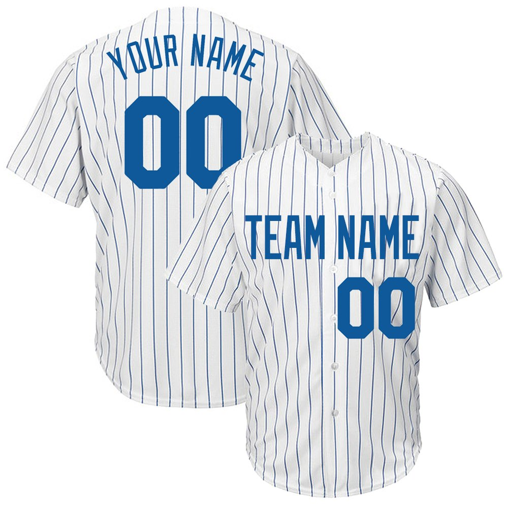 Custom Women's White Pinstriped Baseball Jersey with Sewn Team Name Player Name and Numbers,Royal Blue Size L by DEHUI
