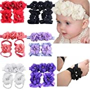 6 Colors Baby Girl Flower Headbands Barefoot Sandals Set Pearl Chiffon Baby Hair Accessories for Toddlers Newborns Infants Photograph