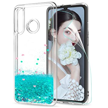 LeYi Funda Huawei P30 Lite Silicona Purpurina Carcasa con HD Protectores de Pantalla,Transparente Cristal Bumper Telefono Gel TPU Fundas Case Cover ...