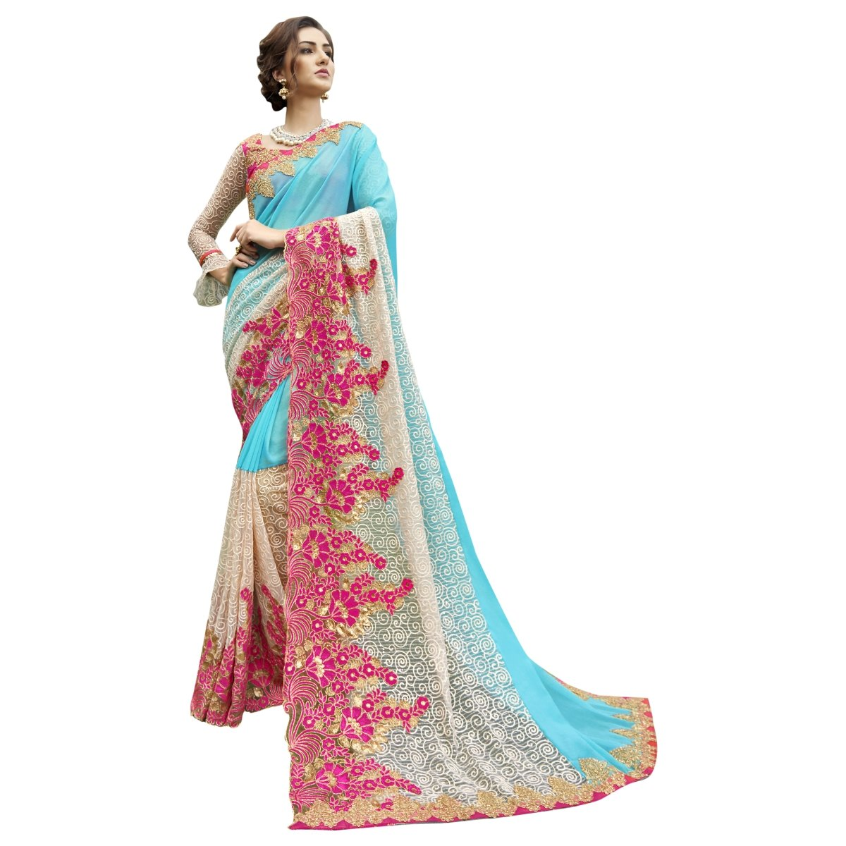 Aksaa Fashion Women's Indian SkyBlue Embroidered Chiffon Net Partywear Saree, Sari AKTSN96085