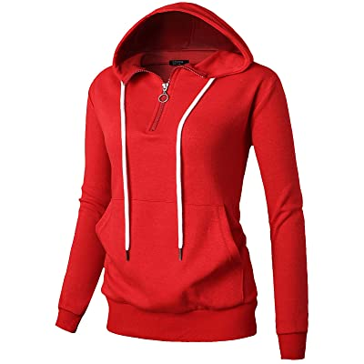 GIVON Womens Comfortable Long Sleeve Lightweight Zip-up Hoodie with Kanga Pocket(XS~4XL) at Women's Clothing store