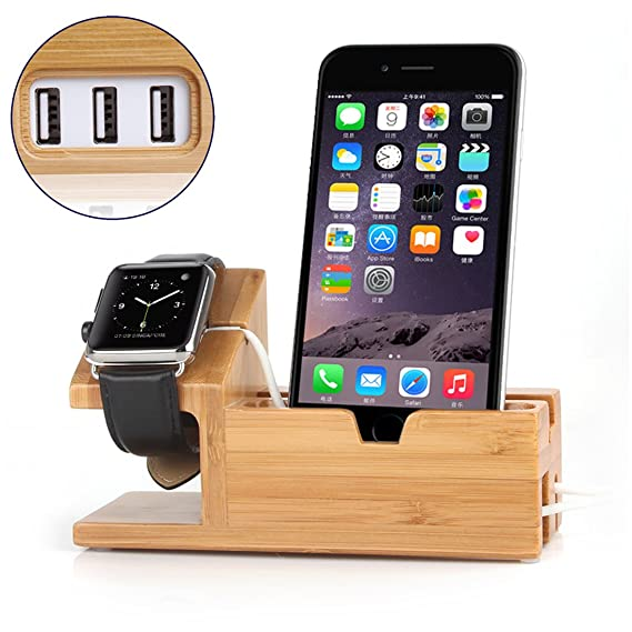 a9d48cf53 Image Unavailable. Image not available for. Color  Bamboo Wood iPhone  Charging Dock Charger Stand for iwatch Monyue Compatible for Apple Watch ...