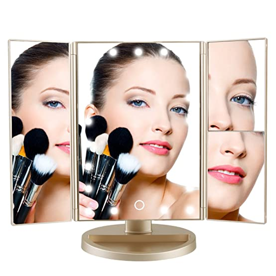 DeWEISN Tri-Fold Lighted Vanity Makeup Mirror with 21 LED Lights