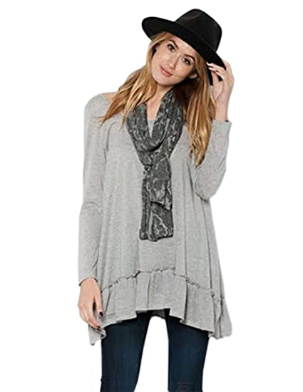 4f83f4734e3 Easel Women s Magenta Navy Grey Bohemian Ruffled Baby Doll Layering Top S M  L (Small