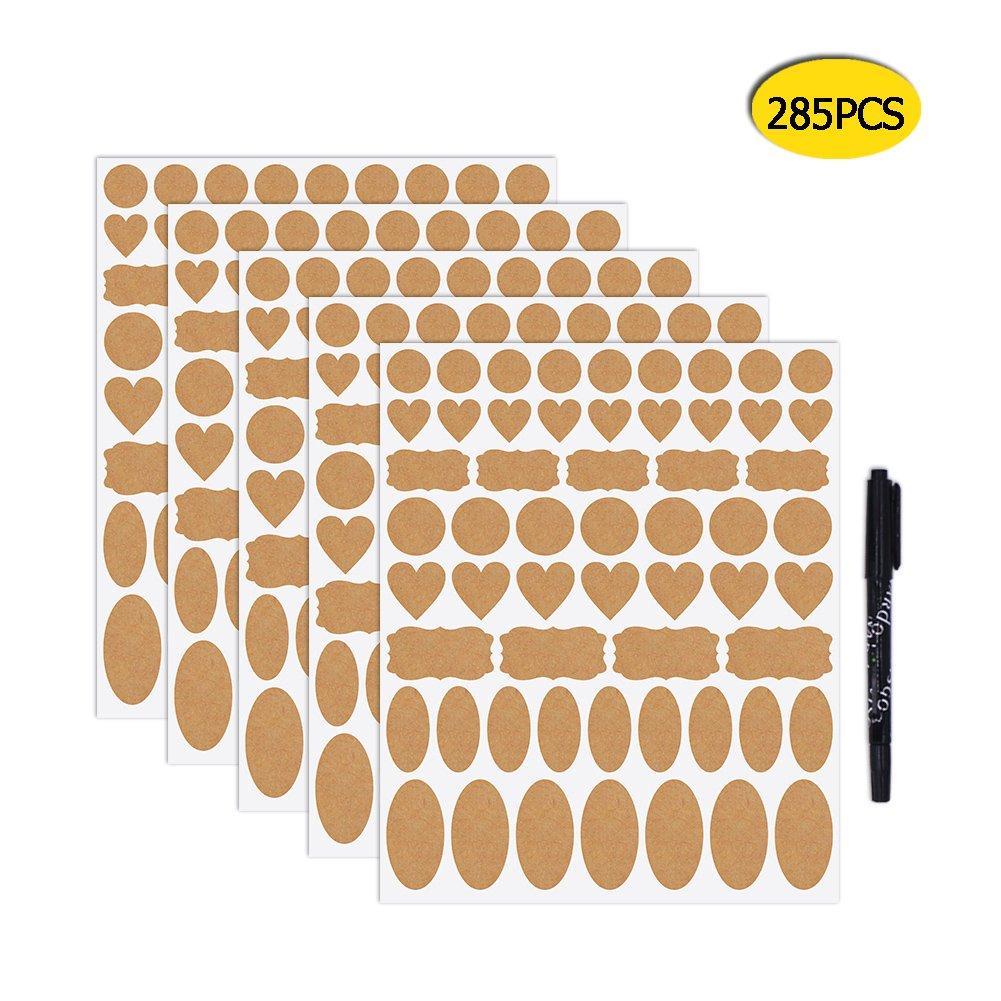 Nardo Visgo Kraft etiquetas de papel pegatinas sellado pegatinas varios tamaño y formas para aceite esencial botellas, tarros de Mason, contenedores de almacenamiento de alimentos o regalo decoración, 5hojas (285piezas)